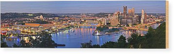 Pittsburgh Pennsylvania Skyline At Dusk Sunset Extra Wide Panorama Wood Print by Jon Holiday