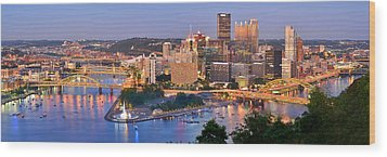 Pittsburgh Pennsylvania Skyline At Dusk Sunset Panorama Wood Print by Jon Holiday