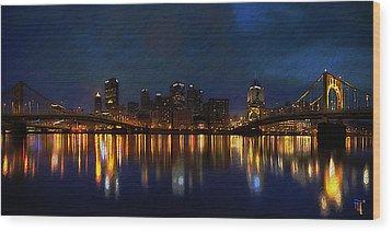 Pittsburgh Skyline 2 Wood Print by  Fli Art