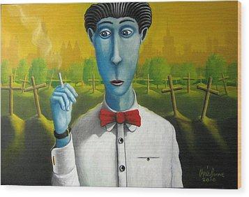 Pittsburgh Smoker Wood Print by Chris Boone