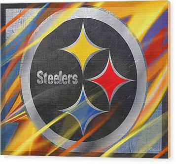 Pittsburgh Steelers Football Wood Print by Tony Rubino