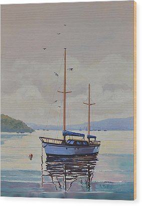 Wood Print featuring the painting Pittwater Calm by Murray McLeod