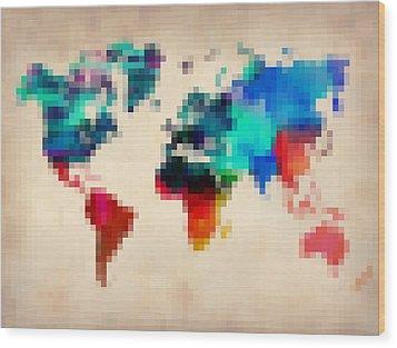 Pixelated World Map Wood Print by Naxart Studio