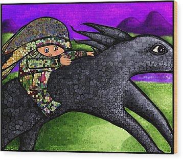 Pixel's Wild Ride Wood Print