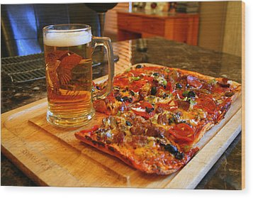 Pizza And Beer Wood Print by Kay Novy