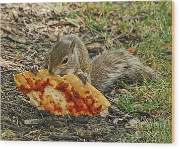 Pizza For  Lunch Wood Print by Mary Carol Story
