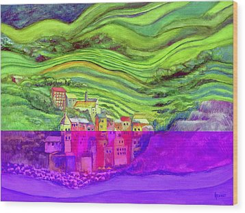 Pizza In Vernazza Wood Print