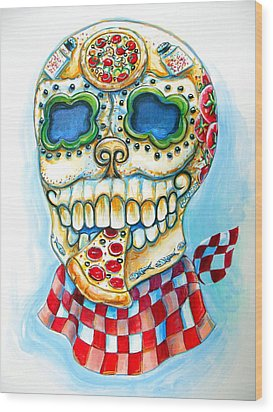 Pizza Sugar Skull Wood Print by Heather Calderon