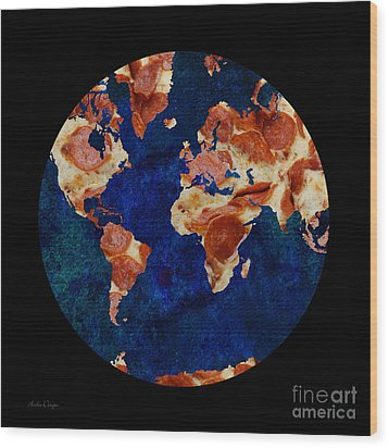 Pizza World Wood Print by Andee Design