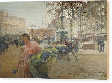 Place Du Theatre Francais Paris Wood Print by Eugene Galien-Laloue