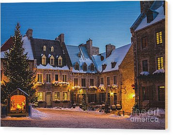 Place Royale Quebec City Canada Wood Print by Dawna  Moore Photography