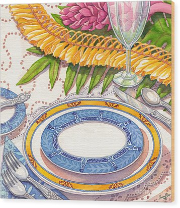 Place Setting With Ginger Lei Wood Print by Tammy Yee