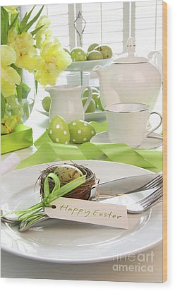 Place Setting With Place Card Set For Easter Wood Print by Sandra Cunningham