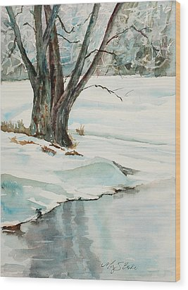 Placid Winter Morning Wood Print by Mary Benke