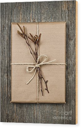 Plain Gift With Natural Decorations Wood Print by Elena Elisseeva