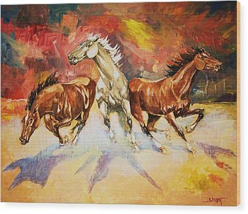 Wood Print featuring the painting Plains Thunder by Al Brown