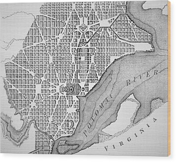 Plan Of The City Of Washington As Originally Laid Out In 1793 Wood Print by American School