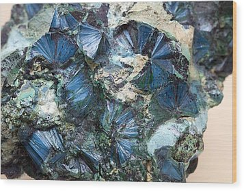 Plancheite Mineral Wood Print by Science Photo Library