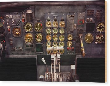 Plane - Cockpit - Boeing 727 - The Controls Are Set Wood Print by Mike Savad