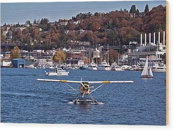Plane On Lake Union Seattle Wood Print by Valerie Garner