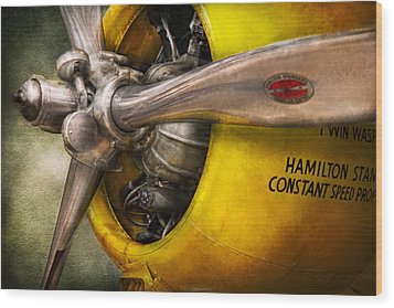 Plane - Pilot - Prop - Twin Wasp Wood Print by Mike Savad