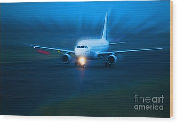 Plane Takes Of At Dusk Wood Print by Michal Bednarek