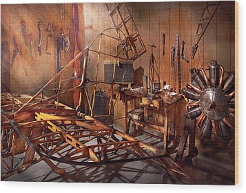 Plane - The Dawn Of Aviation Wood Print by Mike Savad