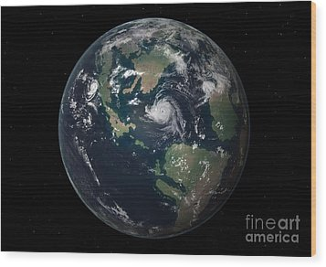 Planet Earth 90 Million Years Ago Wood Print by Walter Myers