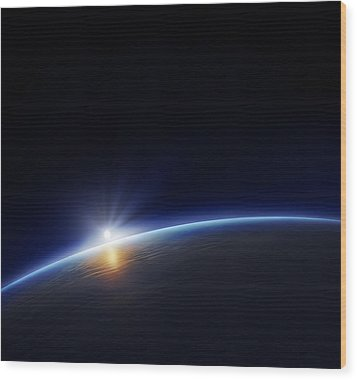 Planet Earth With Rising Sun Wood Print by Johan Swanepoel