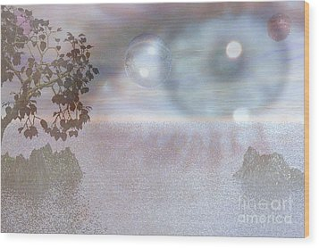 Wood Print featuring the digital art Planet Eye by Kim Prowse