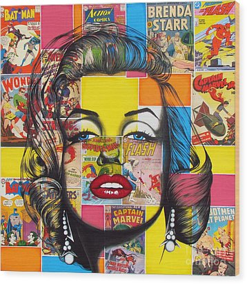 Wood Print featuring the mixed media Planet Marilyn by Joseph Sonday