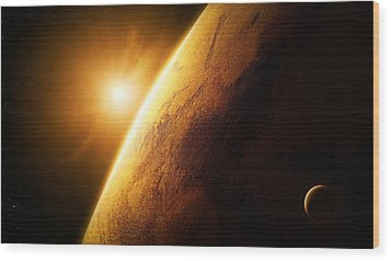 Planet Mars Close-up With Sunrise Wood Print by Johan Swanepoel
