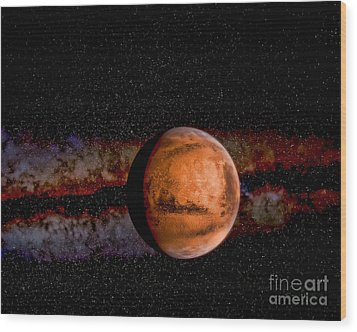 Planet - Mars - The Red Planet Wood Print by Paul Ward