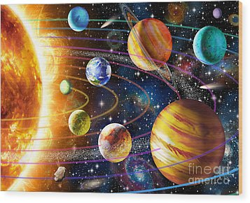 Planetary System Wood Print by Adrian Chesterman
