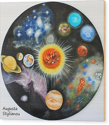 Planets And Nebulae In A Day Wood Print by Augusta Stylianou