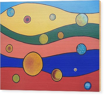 Wood Print featuring the painting Planets by Steve  Hester