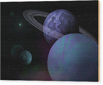 Planets Vs. Dwarf Planets Wood Print by Ricky Haug