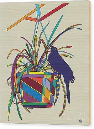 Plant Bird Pop Wood Print