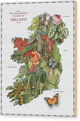 Plant Map Of Ireland Wood Print by Gary Grayson