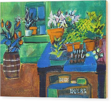 Plants In Potting Shed Wood Print by Betty Pieper