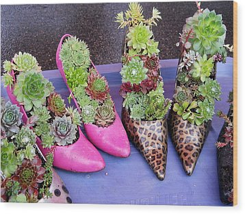 Plants In Pumps Wood Print