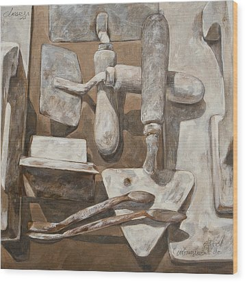 Plasterer's Tools 2 Wood Print by Anke Classen