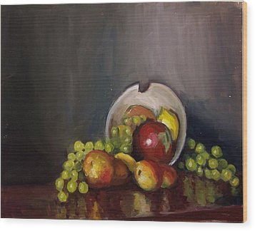 Plate With Fruit Wood Print by Nicolas Bouteneff