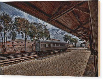 platform view of the first railway station of Tel Aviv Wood Print by Ron Shoshani