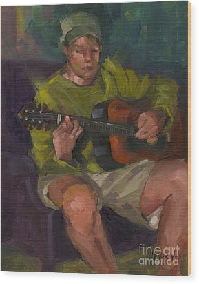 Wood Print featuring the painting Play A Song For Me by Nancy  Parsons