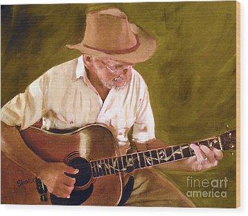 Play Guitar Play Wood Print by Sharon Burger