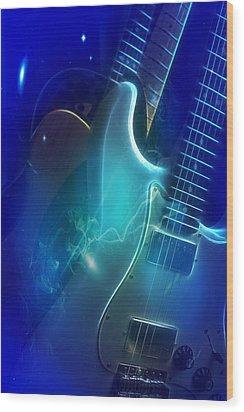 Play Them Blues Wood Print