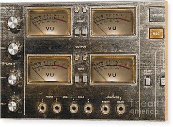 Playback Recording Vu Meters Grunge Wood Print