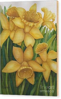 Playful Daffodils Wood Print by Vikki Wicks