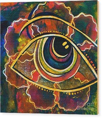 Wood Print featuring the painting Playful Spirit Eye by Deborha Kerr